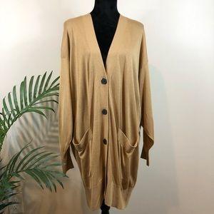 Zara Knit Tan Buttoned Long Cardigan Sweater L NWT